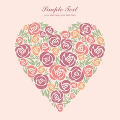 Floral heart card on pastel background
