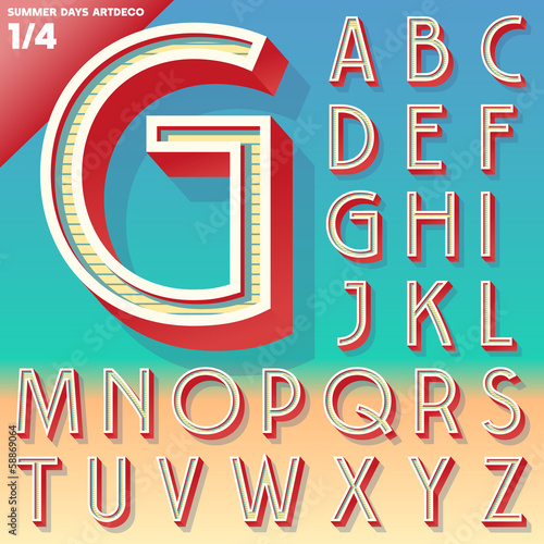 Retro alphabet for Summer typography design. Art Deco style