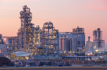 Oil refinery Schwechat in Austria in evening dusk