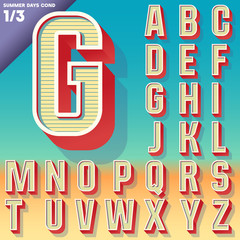 Retro alphabet for Summer typography design. Condensed style