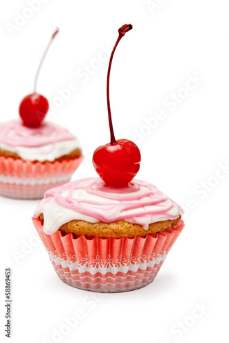 Vanilla cupcakes with yogurt custard and cherry on top