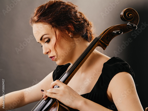 Beautiful cello player closeup