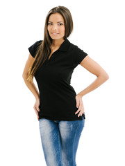 Sexy woman modelling blank black polo shirt