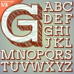 Sketch alphabet. Hand drawing font. Slab style