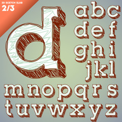 Sketch alphabet. Hand drawing font. Slab style