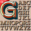 Old school beveled alphabet. Outlined version