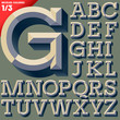 Old school beveled alphabet. Simple colored version.