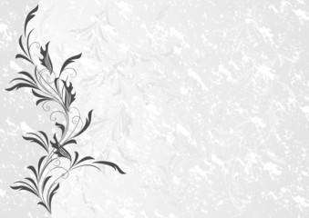 Floral ornament with grunge background