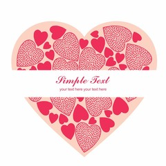 Simple Valentine Heart cardwith white background
