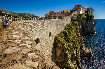 Walking the old town walls of Dubrovnik, Croatia.