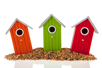 Bird houses and seed
