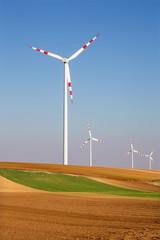 Wind turbine and autumn fields in east Austria