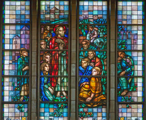 Brussels - Learning of Jesus from windowpane of Basilica