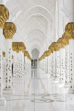 Beautiful white muslim church interior, passageway