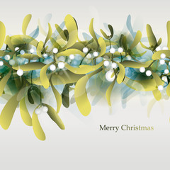 Young Mistletoe / Seamless horizontal pattern or Christmas card