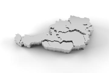 Austria map 3D silver with states stepwise and clipping path