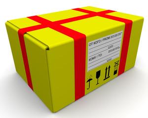 Желтая почтовая посылка