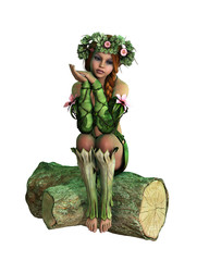Sitting on a Tree Stump, 3d Computer Graphics