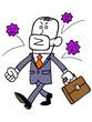 マスクでウイルスをブロックするビジネスマン
