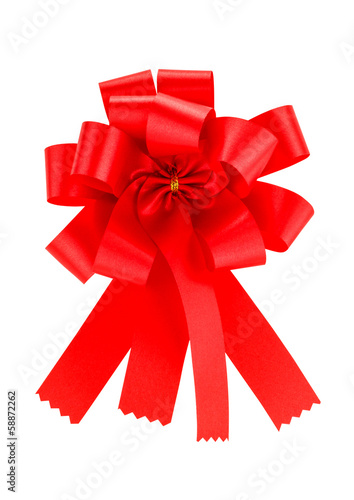 Red ribbon satin gift bow