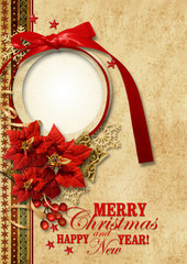 Christmas vintage background with gorgeous frame
