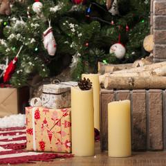 Christmas Presents with decorative xmas fir-tree