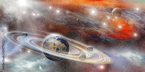 Fototapeta Planet in space with numerous ring system