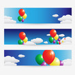 Balloons fly over the clouds in the sky design banner set