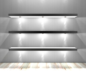 Mensole bianche con luci illuminate faretti