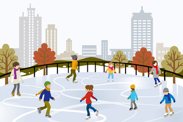 People Ice Skating on Urban Ice Rink, outdoor