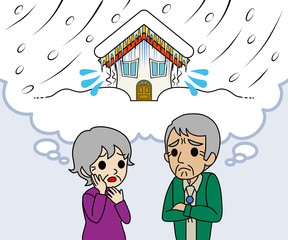 Senior couple are worried Heavy snow