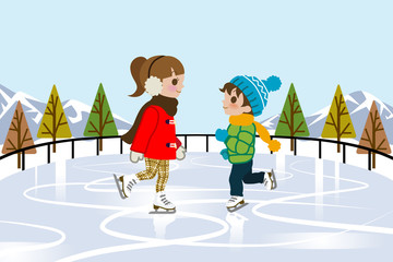 Kids Ice skating in nature