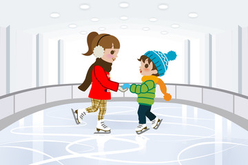 Two kids in Indoor skating rink