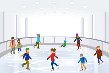 People Ice Skating in indoor Ice Rink