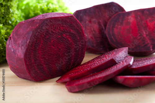 Fresh beetroot cut into slice