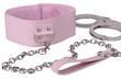 Pink leather collar and handcuffs