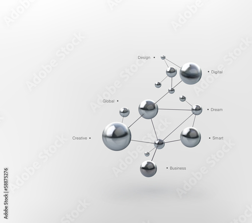 glossy molecules on white background