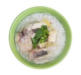 Rice Soup With sea bass fish (Thai food) on white background