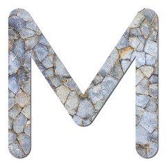 Font stone wall texture alphabet M