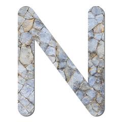 Font stone wall texture alphabet N