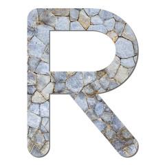 Font stone wall texture alphabet R