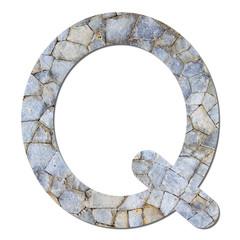 Font stone wall texture alphabet Q