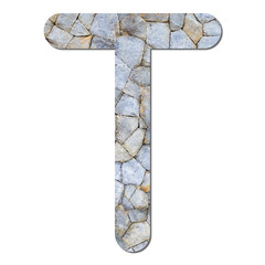 Font stone wall texture alphabet T
