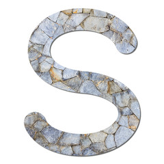 Font stone wall texture alphabet S