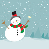 Cute christmas snowman and little bird