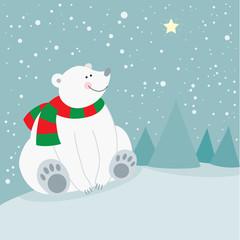 Cute christmas holiday polar bear