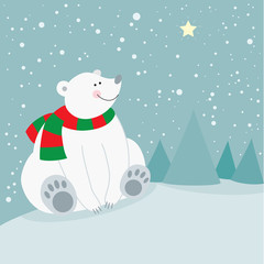 Cute christmas holiday polar bear