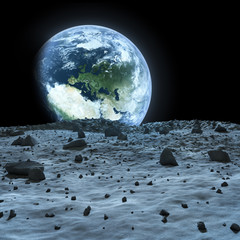 Earth seen from the moon.