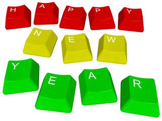 Illustration of pc keys Happy New Year