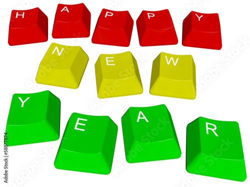 Illustration of pc keys Happy New Year